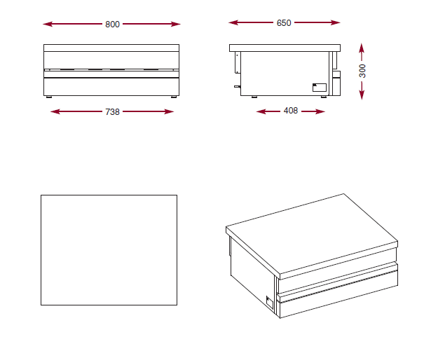 Dimensions du plan de travail neutre inox Ambassade CSA800P