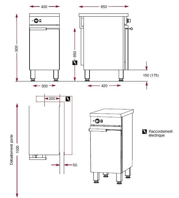 Dimensions de l'armorie chaude Ambassade de Bourgogne CME401CA