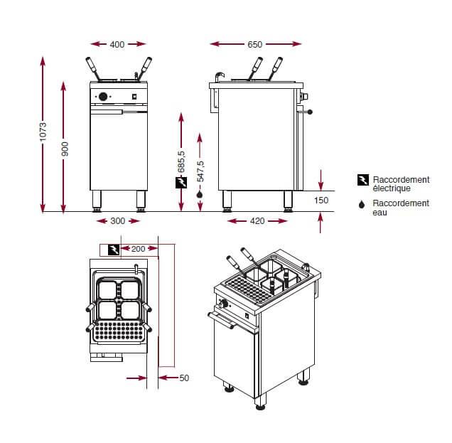 Dimensions du cuiseur à pâtes Ambassade CME410CP