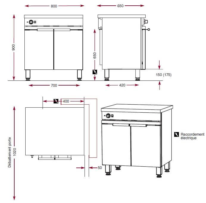 Dimensions du module armoire chaude Ambassade de Bourgogne CME 801 CA
