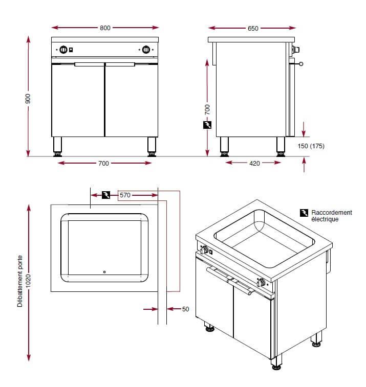 Dimensions du bain-marie sur armoire étuve Ambassade CME810MCA
