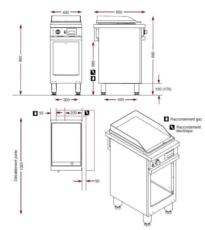 Dimensions du gril à gaz en acier lisse Ambassade CMG410SLK