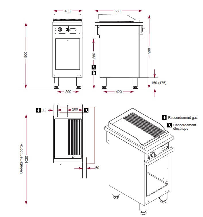 Dimensions du gril gaz Ambassade CMG410SLR