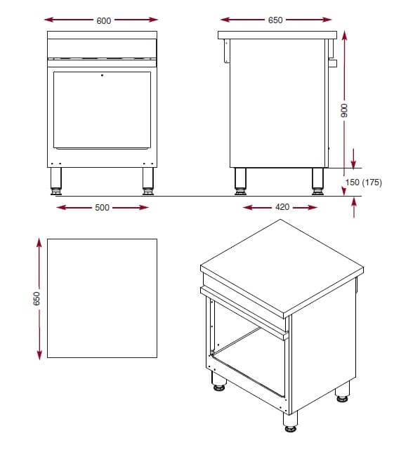 Dimensions de l'armoire de rangement Ambassade de Bourgogne CMA 600 P