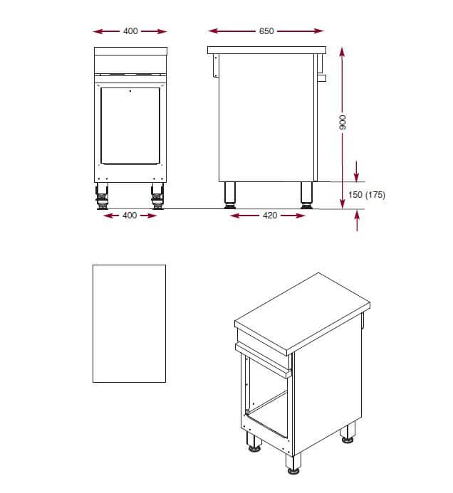 Dimensions de l'armoire de rangement Ambassade CMA400P