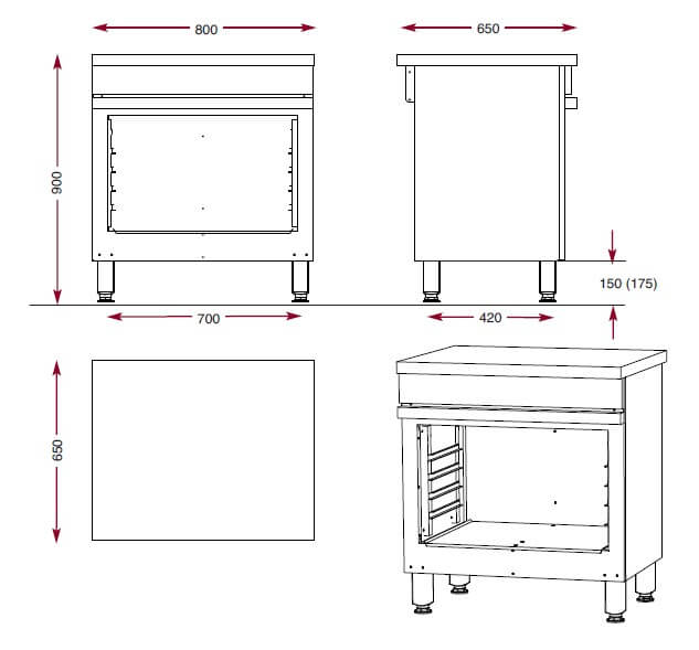 Dimensions de l'armoire de rangement Ambassade de Bourgogne CMA800P