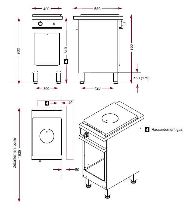 Dimensions de la plaque coup de feu CMG410CF Ambassade