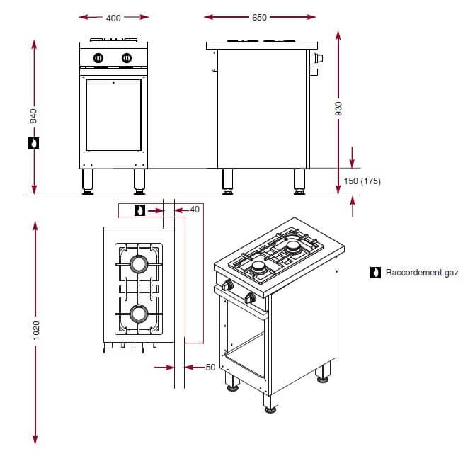 Dimensions du foyers gaz Ambassade 2 feux vifs CMG 420 R