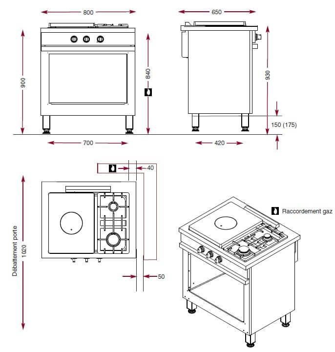 Dimensions de la plaque coup de feu Ambassade CMG830CF