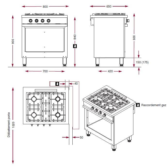 Dimensions du module foyers gaz Ambassade CMG840