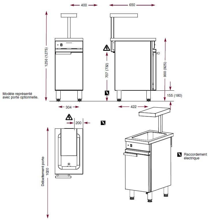 Dimensions de la réserve à frites Ambassade CME410RF