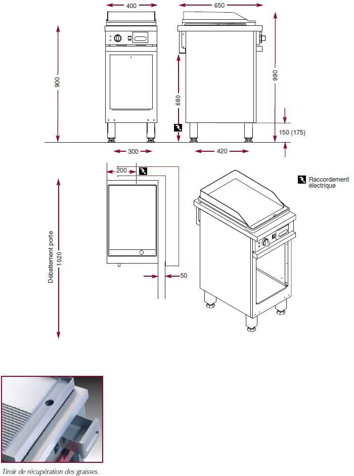 Dimensions du gril électrique chrome Ambassade CME410SLKC