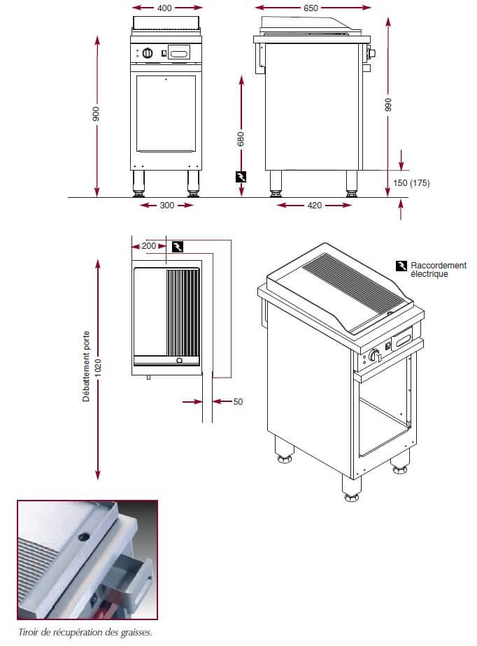 Dimensions du gril électrique chrome Ambassade CME410SLRC