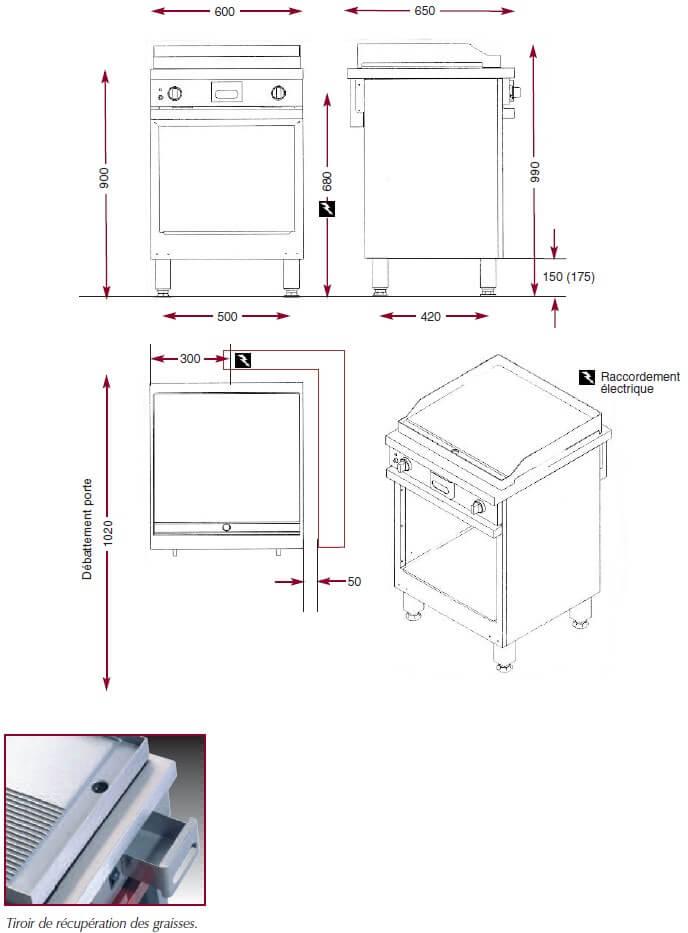 Dimensions du gril électrique Ambassade CME610SLKC