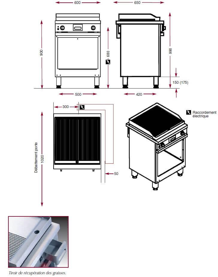 Dimensions du gril électrique chrome Ambassade CME610SRKC
