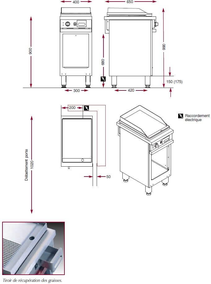 Dimensions du gril électrique Ambassade CME410GL