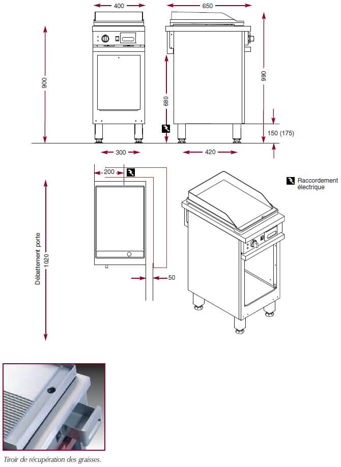 Dimensions du gril électrique Ambassade CME410SLK