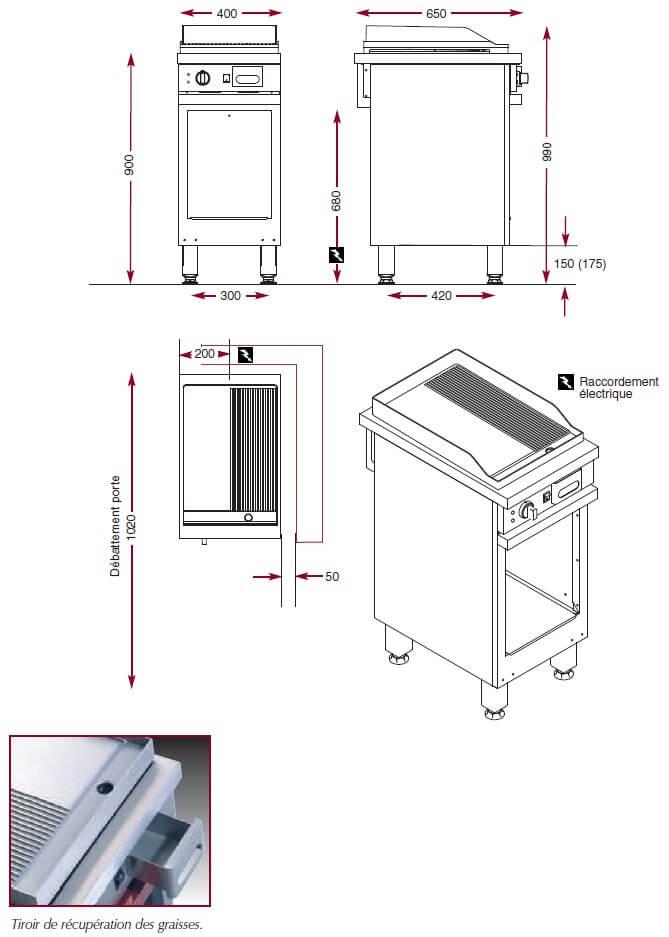 Dimensions du gril électrique Ambassade CME410SLR