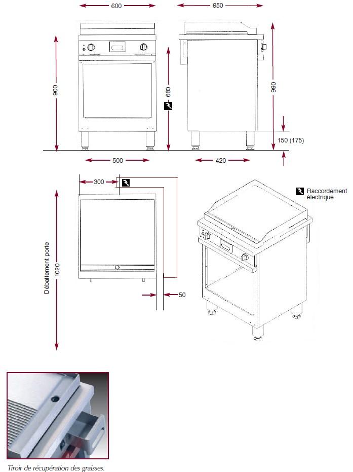 Dimensions du gril électrique Ambassade CME610SLK