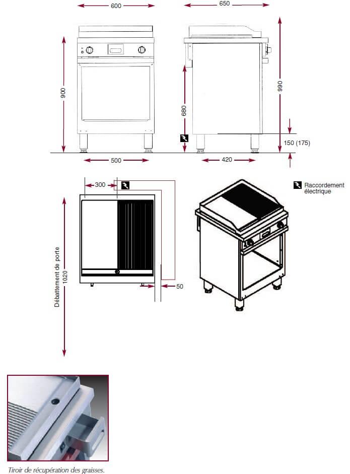 Dimensions du gril électrique Ambassade CME610SLR