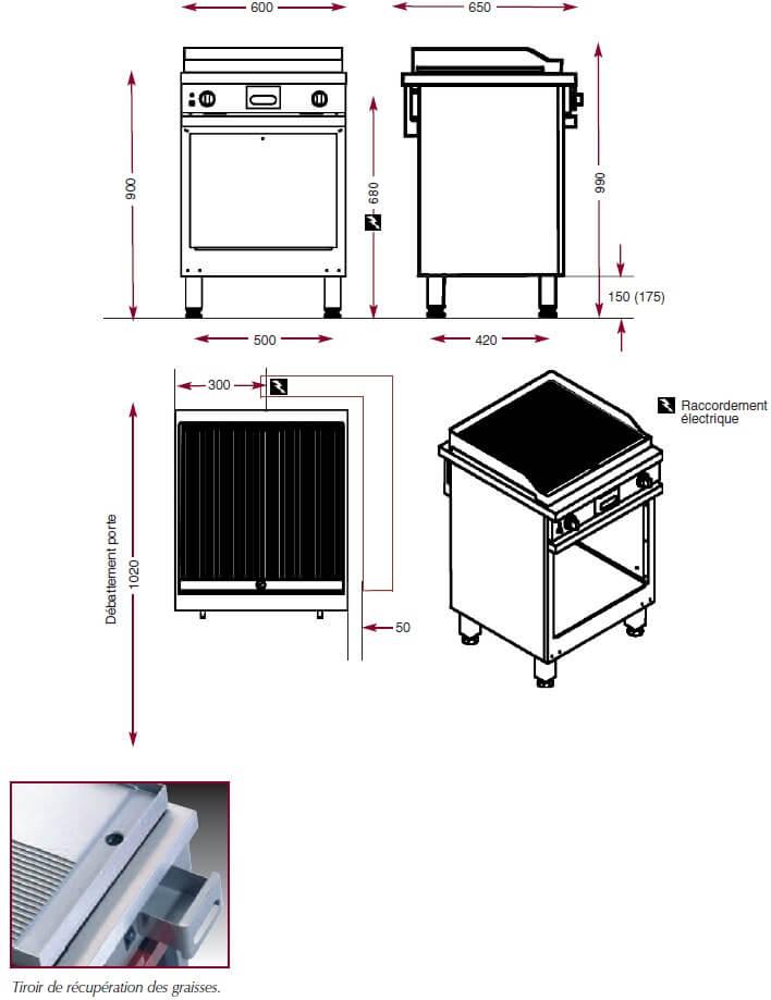 Dimensions du gril électrique Ambassade CME610SRK