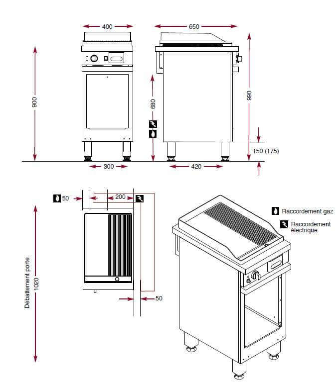 Dimensions du gril chrome Ambassade CMG410SLRC