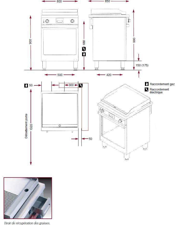 Dimensions du gril chrome lisse Ambassade CMG610SLKC
