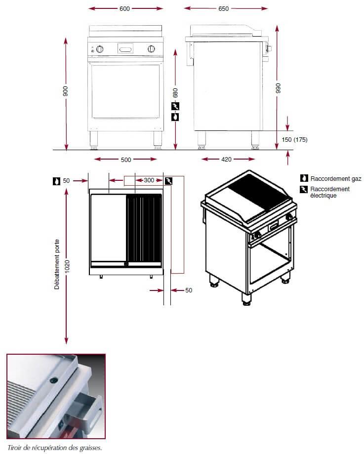 Dimensions du gril chrome Ambassade de Bourgogne CMG610SLRC