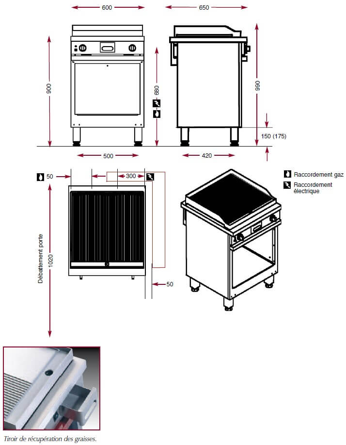 Dimensions du gril chrome nervuré Ambassade CMG610SRKC
