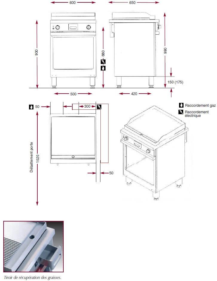 Dimensions du gril gaz Ambassade CMG610SLR