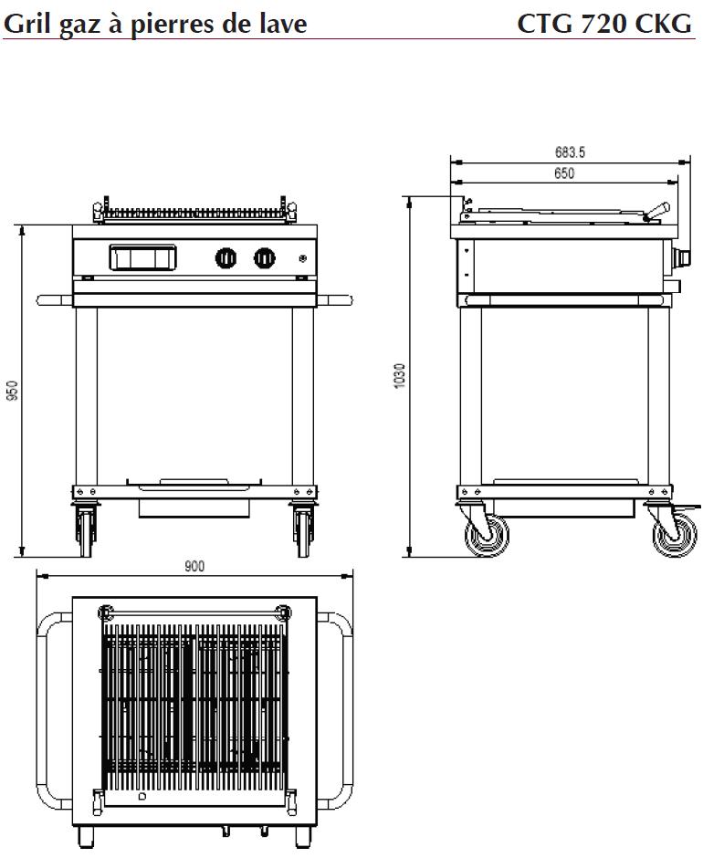 dimensions gril à pierres de lave ambassade CTG720CKG